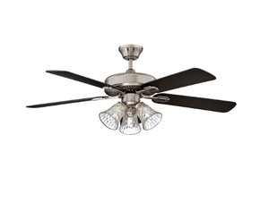 "Sunset CF52889-50-L 52"" 5-Black/Rosewood Blades Stainless Steel Richmond Ceiling Fan with Light Kit"