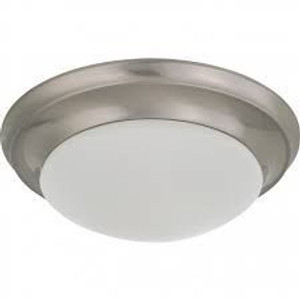 """Nuvo Lighting 62-786 12"""" LED Flush Mount With Frosted Glass Brushed Nickel"""