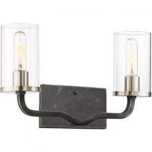Nuvo Lighting 60-6122 Sherwood Iron Black With Brushed Nickel Accents 2 Light Wall Sconce With Clear Glass
