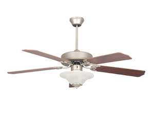 "Sunset CF52878-53-L 52"" 5-Rosewood/Silver Oak Blades Satin Nickel Heritage Square Ceiling Fan with Light Kit"