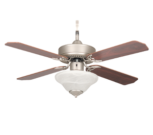 "Sunset CF42877-53-L 42"" 4-Silver Oak/Rosewood Blades Satin Nickel Heritage Square Ceiling Fan with Light Kit"