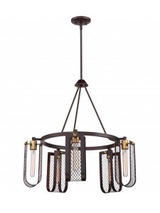 Nuvo Lighting 60-5786 Bandit Patina Bronze With Vintage Brass 5 Light Hanging Fixture With 60w Vintage Lamps Inc.