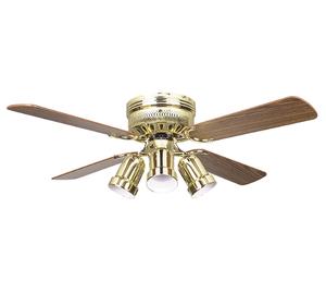 "Sunset CF42837-10 42"" 4-Light/Dark Oak Blades Polished Brass Hugger Ceiling Fan with Four Bullet Light Kit"