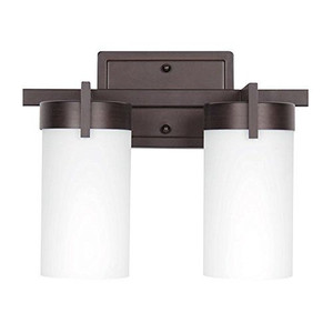 Sunset F2862-64 Luminette Frosted Cylinder Glass 2 Light Vanity Light Sconce Fixture