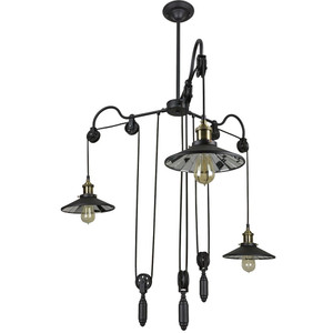 Sunlite Round Shade with weight Pendant Vintage Antique Style Fixture, Matte Black Finish