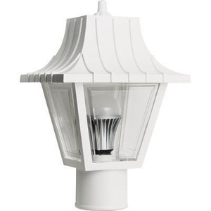 15W LED White Mansard Outdoor Textured Clear Lens Post Lantern Light 2700K