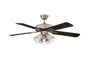 "Sunset CF42889-50-L 42"" 5-Black/Rosewood Blades Stainless Steel Richmond Ceiling Fan with Light Kit"