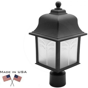 11W LED Orchid Post Top Black Plastic Lantern Fixture 2700K