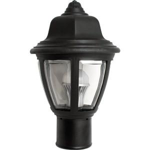 15W LED Post Top Plastic Black Coach Lantern Pole Mount Fixture Clear Lens 3000K