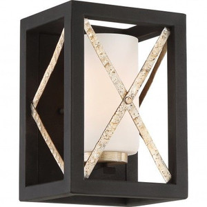 Nuvo Lighting 60-6131 Boxer Matte Black With Antique Silver Accents 1 Light Wall Sconce With Satin White Glass