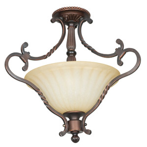 Sunset F5286-61 Graham Sandlewood Glass 2 Light Semi Flush Overhead Light Fixture