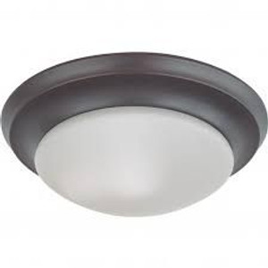 """Nuvo Lighting 62-787 12"""" LED Flush Mount With Frosted Glass Mahogany Bronze"""