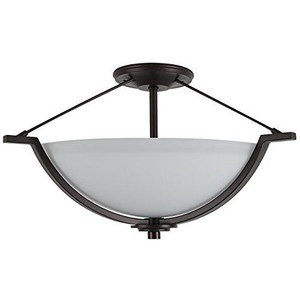 Sunset F17006-64 Abbot White Glass 3 Light Semi Flush Overhead Light Fixture