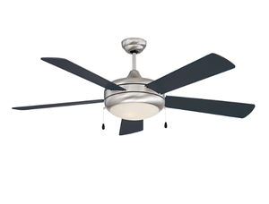 "Sunset CF52370-50-L 52"" 5-Black Gloss/Rosewood Gloss Blades Stainless Steel Saturn-Ex Ceiling Fan with Light Kit"