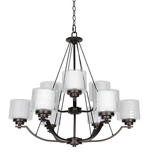 Sunset F17009-64 Abbot White Glass 9 Light 2-Tier Chandelier