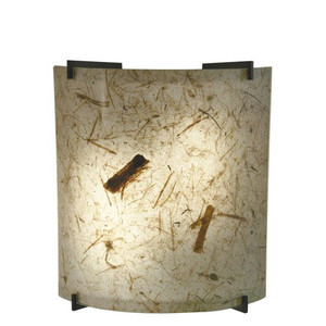 23W LED Natural Teak Acrylic Curved Wall Sconce Bronze Accents 3000K