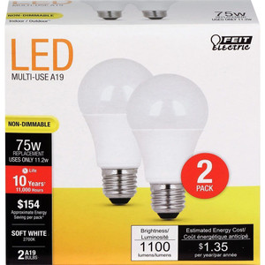 Feit Electric A1100/827/10KLED/2 1100 Lumen 2700K Non-Dimmable LED 2-Pack