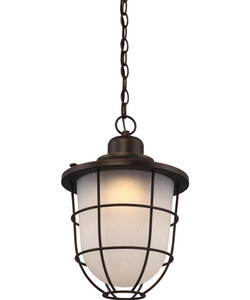 Nuvo Lighting 62-946 Bungalow Mahogany Bronze Outdoor LED Hanging Lantern With Etched Seeded Glass