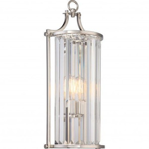 Nuvo Lighting 60-5767 Krys Polished Nickel 1 Light Crystal Wall Sconce (Long) With 60w Vintage Lamp Inc.