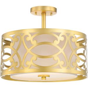 Nuvo Lighting 60-5967 Filigree Natural Brass 2 Light Semi Flush Fixture With Beige Linen Shade Natural Brass
