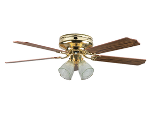 "Sunset CF52148-10 52"" 5-Light/Dark Oak Blades Polished Brass Montego Bay Deluxe Ceiling Fan with Light Kit"