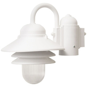 9W LED Nautical Post Mount White Polycarbonate Tiered 1-Light Fixture 2700K