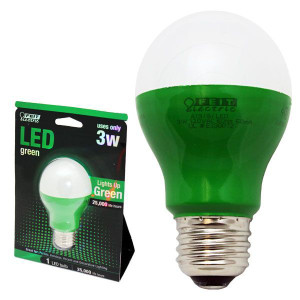 Feit Electric A19/G/LED 3W Green Party Bulb 120VAC