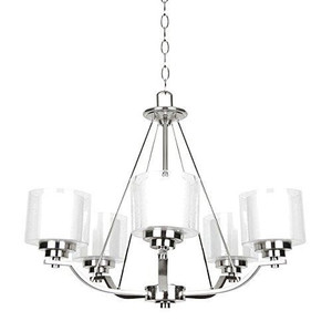 Sunset F17005-80 Abbot White Glass 5 Light Chandelier