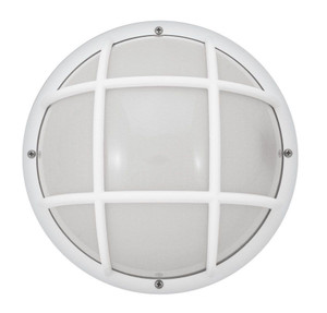 "White Marine Outdoor Plastic Wall Mount 10"" Round LED Bulkhead Light"