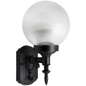 26W CFL Elegant Porch Light Clear Prismatic Globe Black Housing 4100K