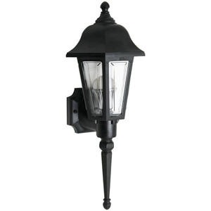60W Max Tall Coach Style Black Security Porch Light Fixture