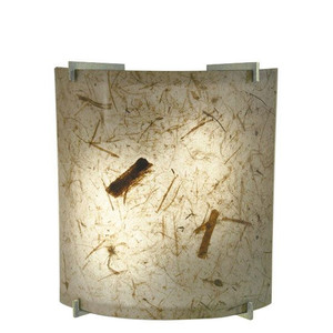 14W LED Natural Teak Acrylic Curved Wall Sconce Ultra Chrome Accents 3000K 1