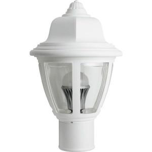 11W LED Post Top Plastic White Coach Lantern Pole Mount Fixture Clear Lens 2700K