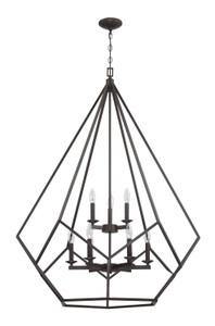 Sunset F3429-64 Lyric Provincial Bronze Metal 9 Light Cage Pendant