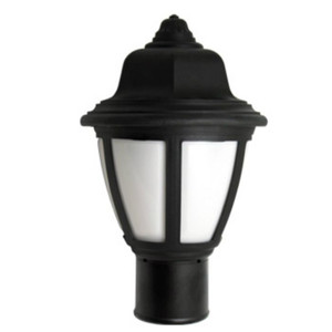 9W LED Post Top Plastic Black Coach Lantern Pole Mount Fixture 3000K