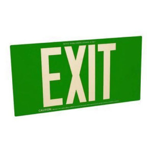 Fulham FLPL50SG Photoluminescent Green Exit Sign 50ft One Face
