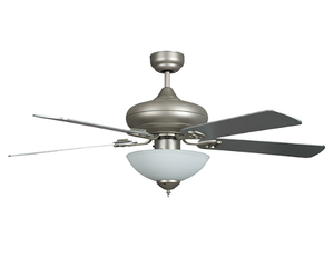 "Sunset CF52880-53-L 52"" 5-Chrome/Rosewood Blades Satin Nickel Quick Connect Ceiling Fan with Light Kit"