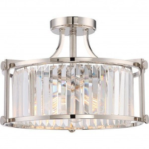 Nuvo Lighting 60-5763 Krys Polished Nickel 3 Light Crystal Semi Flush Fixture With 60w Vintage Lamps Inc.