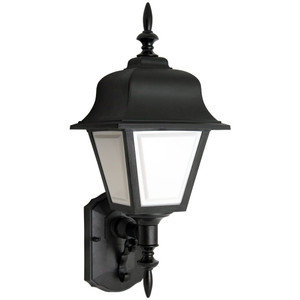 13W CFL Traditional Black Porch Light White Lens Coach Style Fixture 3500K