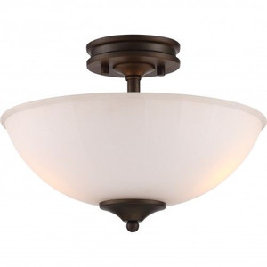 Nuvo Lighting 62-908 Tess Forest Bronze LED Semi Flush Fixture With Frosted Fluted Glass