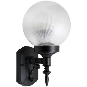 26W CFL Elegant Porch Light Clear Prismatic Globe Black Housing 3500K