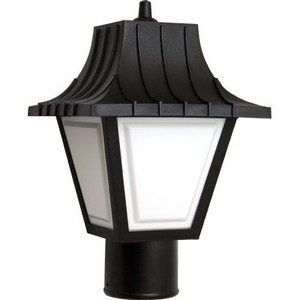 9W LED Black Mansard Outdoor Textured White Lens Post Lantern Light 3000K
