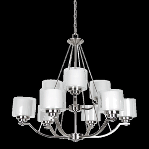 Sunset F17009-80 Abbot White Glass 9 Light 2-Tier Chandelier