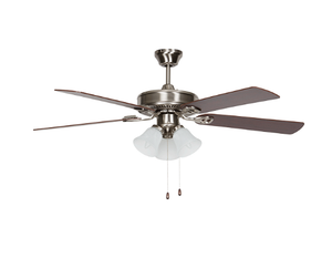 "Sunset CF52883-50-L 52"" 5-Reversible Black Forest/Rosewood Blades Stainless Steel Easy Hang Ceiling Fan with Light Kit"