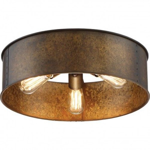 Nuvo Lighting 60-5893 Kettle Weathered Brass 3 Light Flush Fixture With 60w Vintage Lamps Inc.