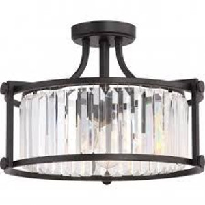 Nuvo Lighting 60-5773 Krys Aged Bronze 3 Light Crystal Semi Flush Fixture With 60w Vintage Lamps Inc.