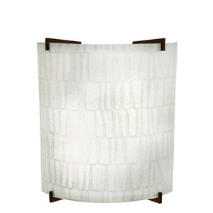 14W LED Stone Linen Acrylic Curved Wall Sconce Bronze Accents 4000K 1