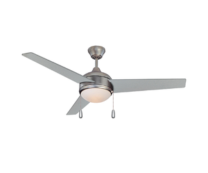 "Sunset CF52874-53 52"" Chrome Blades Satin Nickel Skylark Ceiling Fan with Light Kit and Pull Chain"