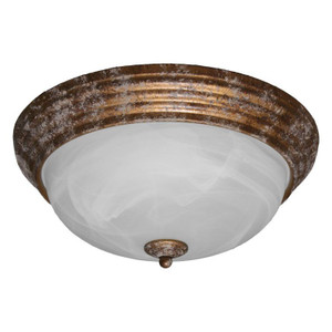14W LED Decorative Marbled Glass Aged Brass Overhead Light 3000K