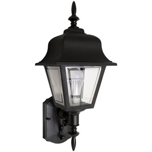 13W CFL Traditional Black Porch Light Clear Lens Coach Style Fixture 3500K